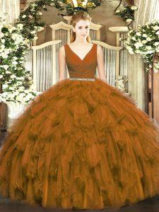 Brown Tulle Zipper Quinceanera Dresses Sleeveless Floor Length Beading and Ruffles