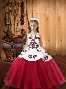 Coral Red Lace Up Straps Embroidery Pageant Dress for Girls Organza Sleeveless