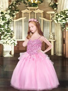 Elegant Pink Spaghetti Straps Lace Up Appliques Child Pageant Dress Sleeveless