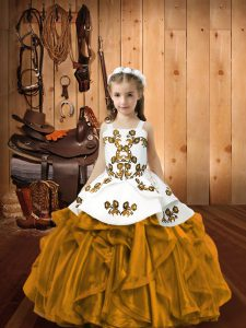 New Style Brown Ball Gowns Embroidery and Ruffles Kids Formal Wear Lace Up Organza Sleeveless Floor Length