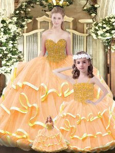 Orange Sleeveless Floor Length Beading and Ruffled Layers Lace Up Quinceanera Gown