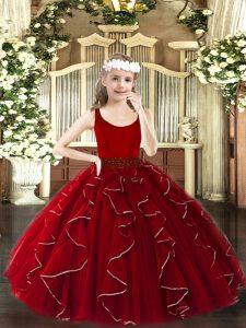 Stylish Wine Red Zipper Little Girl Pageant Gowns Beading and Ruffles Sleeveless Floor Length