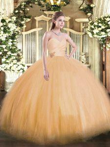 Tulle Sweetheart Sleeveless Lace Up Beading Vestidos de Quinceanera in Orange