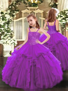 Cheap Floor Length Purple Custom Made Pageant Dress Straps Sleeveless Lace Up