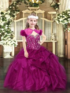 Stylish Fuchsia Lace Up Glitz Pageant Dress Beading and Ruffles Sleeveless Floor Length