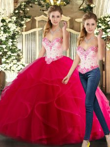 Vintage Organza Sweetheart Sleeveless Lace Up Beading and Ruffles Sweet 16 Quinceanera Dress in Hot Pink