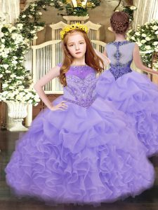 Lavender Ball Gowns Beading and Ruffles and Pick Ups Child Pageant Dress Zipper Organza Sleeveless Floor Length