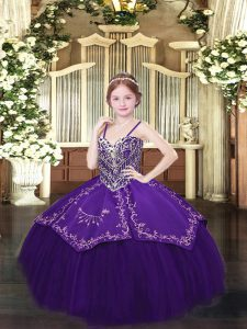 Satin and Organza Spaghetti Straps Sleeveless Lace Up Beading and Embroidery Girls Pageant Dresses in Dark Purple