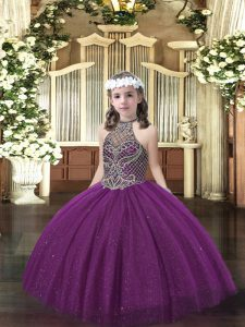 Dark Purple Halter Top Neckline Beading Little Girls Pageant Dress Wholesale Sleeveless Lace Up