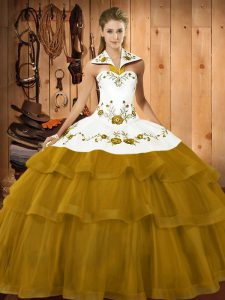 Free and Easy Brown Sweet 16 Quinceanera Dress Satin and Organza Brush Train Sleeveless Embroidery and Ruffled Layers