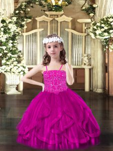 Fuchsia Pageant Dress for Womens Party and Quinceanera with Beading and Ruffles Spaghetti Straps Sleeveless Lace Up