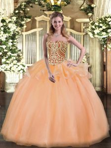 Flare Ball Gowns Vestidos de Quinceanera Peach Sweetheart Tulle Sleeveless Floor Length Lace Up