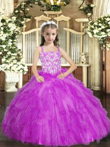 Dramatic Lilac Straps Lace Up Beading and Ruffles Glitz Pageant Dress Sleeveless