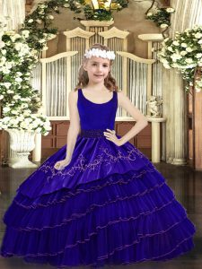 Excellent Scoop Sleeveless Organza Custom Made Pageant Dress Beading and Embroidery and Ruffled Layers Zipper