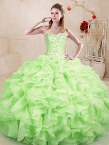 Floor Length Lace Up 15th Birthday Dress Yellow Green for Sweet 16 and Quinceanera with Beading and Ruffles