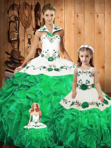Ball Gowns Quinceanera Dresses Green Halter Top Tulle Sleeveless Floor Length Lace Up