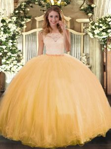 Hot Sale Floor Length Gold Sweet 16 Dresses Tulle Sleeveless Lace