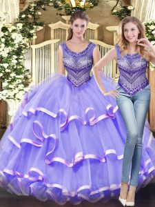 Tulle Scoop Sleeveless Lace Up Beading and Ruffled Layers Vestidos de Quinceanera in Lavender