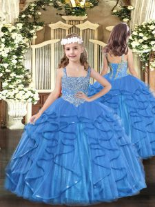 Baby Blue Mermaid Straps Sleeveless Tulle Floor Length Lace Up Beading and Ruffles Little Girls Pageant Gowns