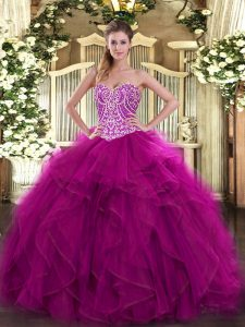Fuchsia Sleeveless Beading and Ruffles Floor Length Quinceanera Gown