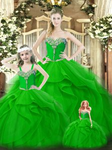Cute Green Sleeveless Beading and Ruffles Floor Length Quinceanera Dresses