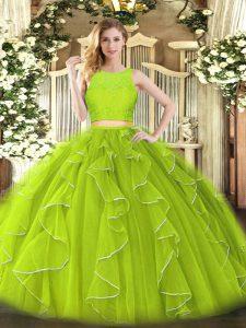 Luxurious Yellow Green Ball Gowns Organza Scoop Sleeveless Lace and Ruffles Floor Length Zipper Sweet 16 Dress