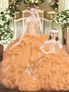 Floor Length Lace Up 15 Quinceanera Dress Orange Red for Military Ball and Sweet 16 and Quinceanera with Beading and Ruffles