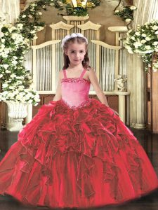 Red Organza Lace Up Straps Sleeveless Floor Length Kids Pageant Dress Appliques and Ruffles