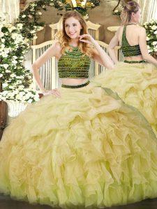 Beading and Ruffles Ball Gown Prom Dress Yellow Green Zipper Sleeveless Floor Length