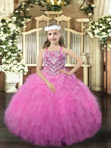 Floor Length Rose Pink Pageant Dress Wholesale Organza Sleeveless Beading and Ruffles