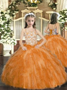 Orange Ball Gowns Beading and Ruffles Winning Pageant Gowns Lace Up Organza Sleeveless Floor Length