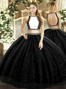On Sale Black Tulle Backless Quinceanera Gown Sleeveless Floor Length Ruching