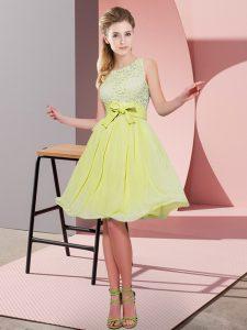 Perfect Chiffon Sleeveless Knee Length Dama Dress and Lace and Bowknot
