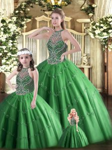 Floor Length Dark Green Ball Gown Prom Dress Halter Top Sleeveless Lace Up