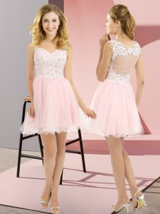 Luxurious Sleeveless Mini Length Beading and Lace Lace Up Dama Dress with Baby Pink
