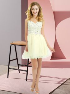 Empire Dama Dress Light Yellow V-neck Tulle Sleeveless Mini Length Lace Up