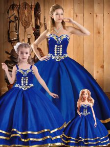 Best Selling Blue Ball Gowns Sweetheart Sleeveless Tulle Floor Length Lace Up Embroidery Quince Ball Gowns