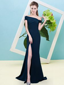 Navy Blue Mermaid Elastic Woven Satin Off The Shoulder Sleeveless Ruching Floor Length Zipper Quinceanera Dama Dress