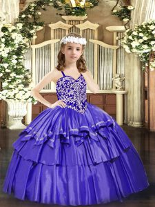 Eye-catching Ball Gowns Pageant Dress Lavender Straps Organza Sleeveless Floor Length Lace Up