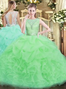 Floor Length Backless 15 Quinceanera Dress for Military Ball and Sweet 16 and Quinceanera with Lace and Ruffles