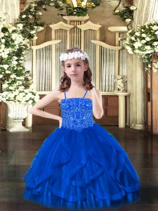 Blue Ball Gowns Beading and Ruffles Pageant Gowns Lace Up Tulle Sleeveless Floor Length