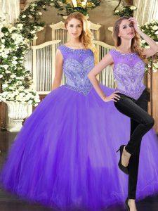 Eggplant Purple Scoop Zipper Beading 15th Birthday Dress Sleeveless