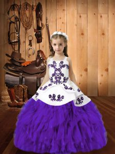 Simple Eggplant Purple Lace Up Pageant Dress for Teens Embroidery and Ruffles Sleeveless Floor Length