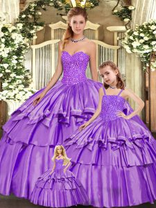 Customized Eggplant Purple Ball Gowns Organza Sweetheart Sleeveless Beading and Ruffled Layers Floor Length Lace Up Sweet 16 Dress