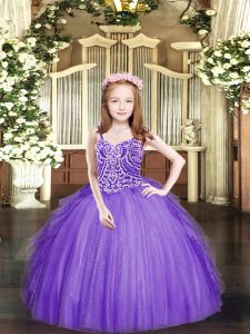 Elegant Tulle Sleeveless Floor Length Pageant Dresses and Beading and Ruffles
