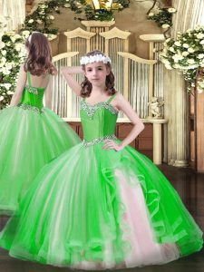 Graceful Sleeveless Floor Length Beading Lace Up Little Girls Pageant Dress