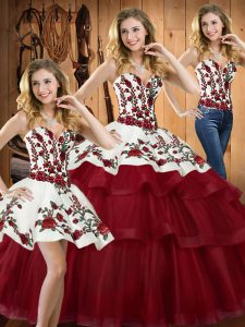On Sale Wine Red Organza Lace Up Sweetheart Sleeveless Quinceanera Dress Sweep Train Embroidery
