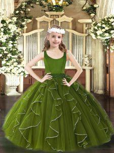 Wonderful Olive Green Zipper Scoop Beading and Ruffles High School Pageant Dress Organza Sleeveless