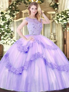 Lavender Sweet 16 Quinceanera Dress Military Ball and Sweet 16 and Quinceanera with Beading and Appliques Bateau Sleeveless Zipper