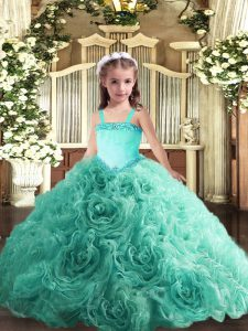 Turquoise Lace Up Glitz Pageant Dress Appliques Sleeveless Floor Length